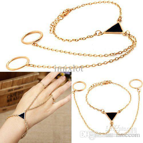 12Pcs Fashion Stylish Punk Triangle Gold Alloy Chain Link Two Fingers Ring Bracelet Free Shipping[F272*12]