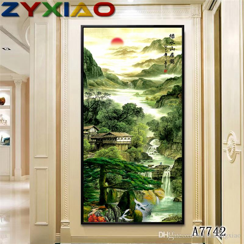 2019 zyxiao big size oil painting art scenery waterfall mountain rh dhgate com