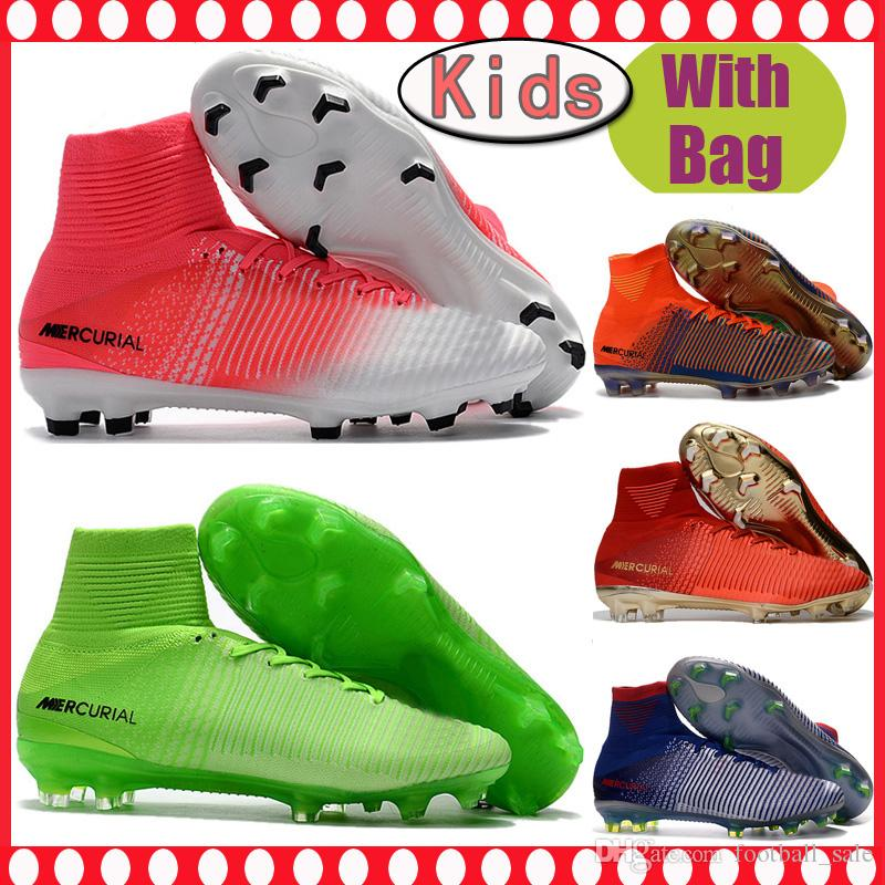 bb482781566 Cheap Kids High Ankle Football Boots Youth CR7 Mercurial Superfly V Soccer  Shoes Mens Neymar FG Women ACC Soccer Cleats Outdoor Size 35 45 Athletic  Shoes ...