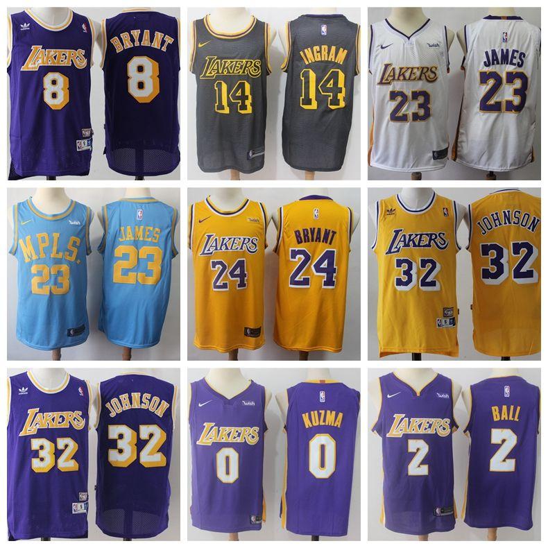 aa290d69e95b 2019 Bryant 24 Kobe Lonzo 8 Bryant 23 LeBron James Basketball Jerseys 0  Kuzma Los Angeles Laker Ball 2 Kyle 14 Ingram Top MEN From Nyjerseys