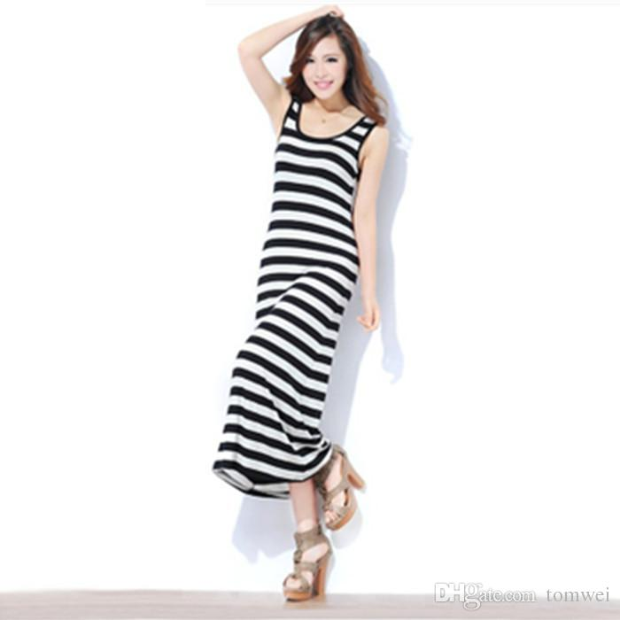 Womens Maxi Dress Solid Color Long Tank Dress Slim Fit Casual Beach Dresses  2019 Summer Female Clothing Plus Size 10 Colors