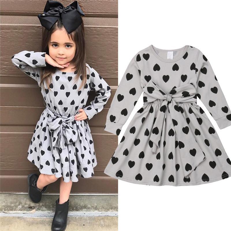 e33d46804d7f 2019 Pretty Kids Girls Heart Shaped Print Dress Long Sleeve High ...