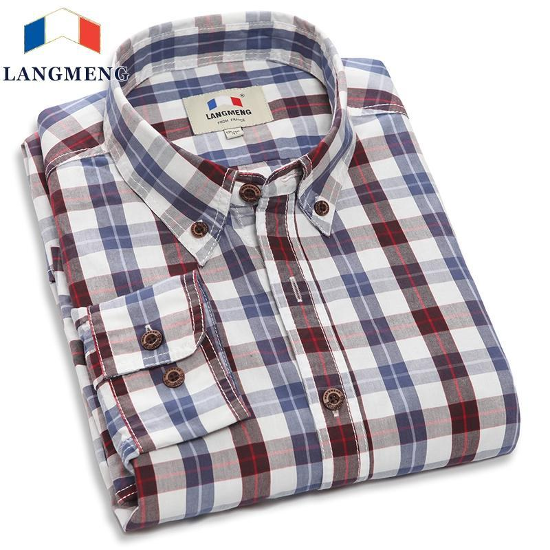 Wholesale- Langmeng 2016 Brand 100% cotton hot selling men casual shirts mens long sleeve spring autumn plaid shirts male dress shirt
