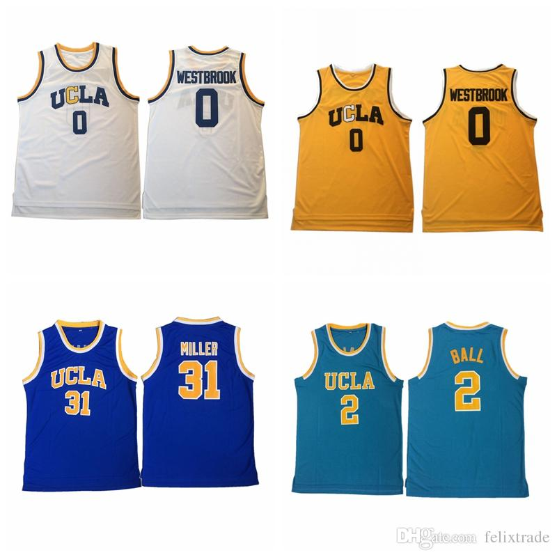 premium selection feb74 18387 NCAA UCLA Bruins Jersey 0 RussellWestbrook 2 LonzoBall 42 KevinLove 31  ReggieMiller blue white yellow Stitched College Basketball Jerseys
