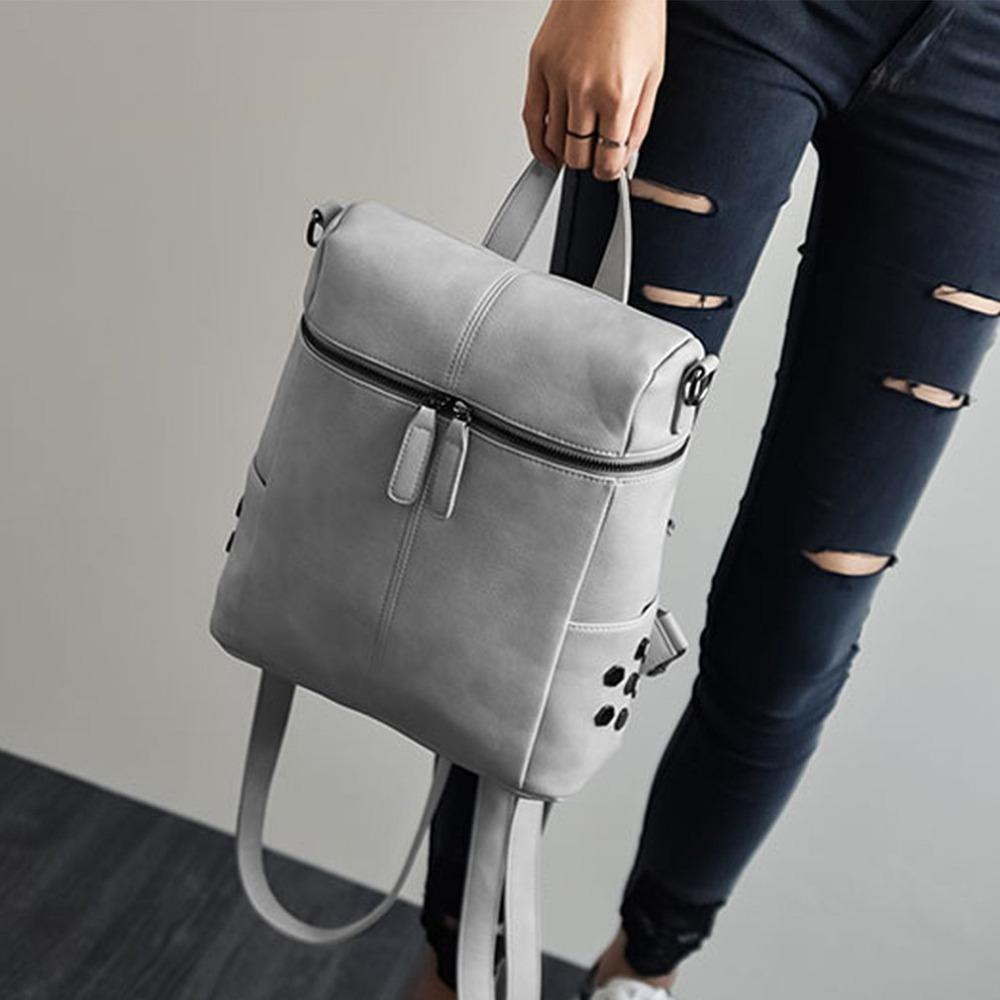 802fd98f92c7 Simple Style Backpack Women Soft PU Leather Backpacks For Teenage ...