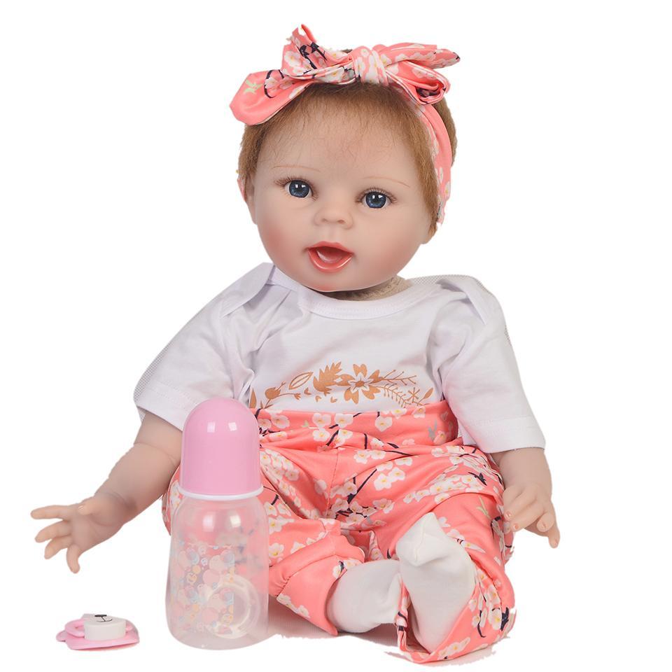 3d855dab80 Compre Reborn Real Dolls 22 Polegadas 55 Cm Silicone Reborn Baby Doll  Brinquedos Presente Bebe Vivo Reborn Menina Bonecas Venda Quente Boneca Npk  De ...