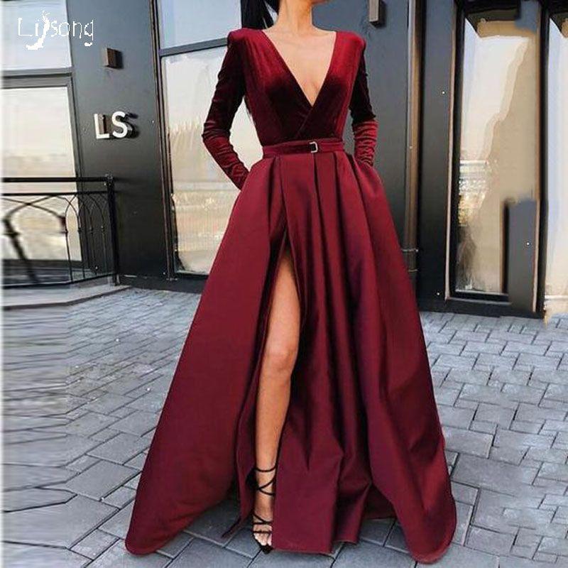 93ba806452e23 Elegant Burgundy Leg Split High Waist Velvet Satin Long Sleeves Prom Dress  Vestidos Winter Autumn Event Party Wear Evening Maxi Gown Lady Princess  Prom ...