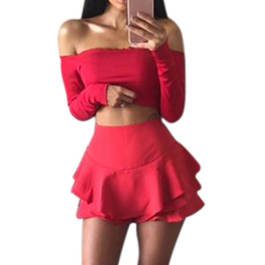 4863db2a96799f Sping Autumn Womens Sexy Off Shoulder Crop Tops T Shirt Frill Bralet  Boobtube Short Jumper Tops Shirts Camisetas Mujer Family T Shirts Printed  Shirt From ...