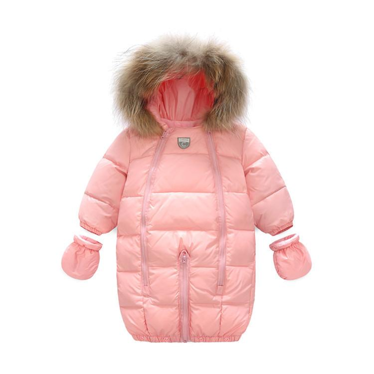 219f5a119 Winter Jacket Girls Coat 90% Down Snowsuit Long Sleeves Rompers Outdoor  Warm Newborn Kids Snow Boys Outerwear With Fur Hooded Long Down Coat For  Girls Long ...
