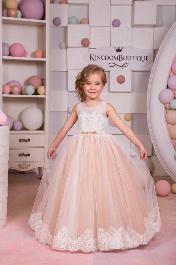 fbce9aeb501d4 Ivory And Blush Pink Flower Girl Dress Birthday Wedding Party Holiday  Bridesmaid Flower Girl Ivory And Blush Pink Tulle Lace Dress Big Flower  Girl Dresses ...