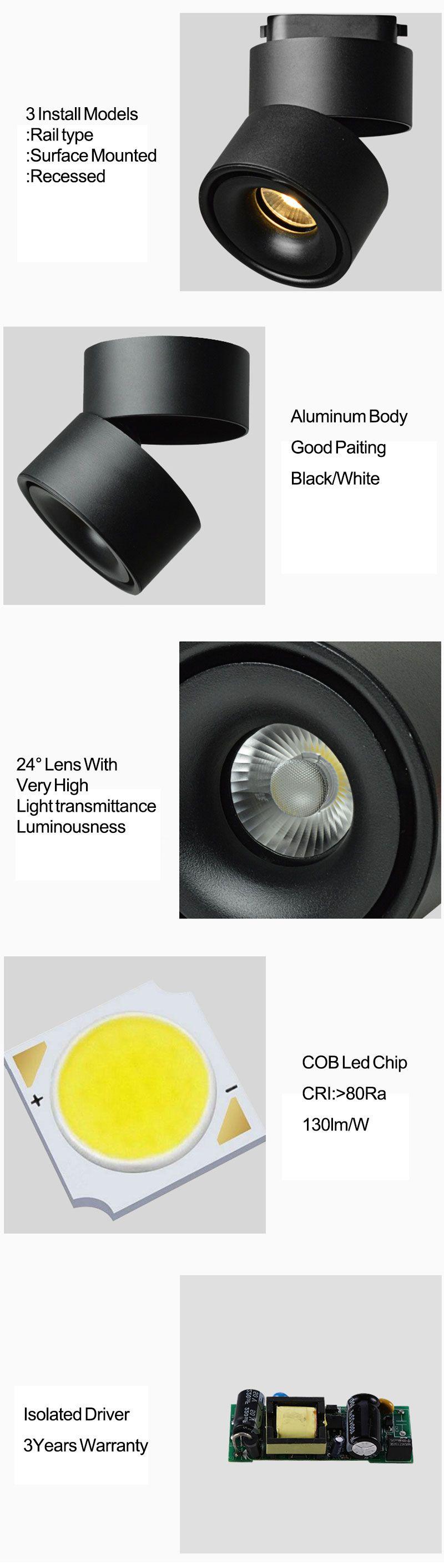 COB 20W 30W 40W Luz de riel de aluminio Carril de techo Iluminación de riel Spot Spot Focos Reemplazar lámparas halógenas AC220V