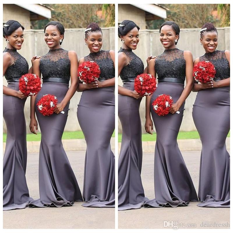 2019 Sheer O-Neck Slim Grey African Mermaid Bridesmaid Dresses Crew Neck Lace Applique Sleeveless Beaded Sweep Train Maid of Honor Gowns