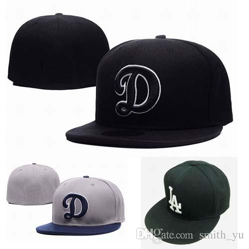c1b763d2119714 Fashion Letter D Cap Men Fitted Hats Los Angeles Flat Brim Embroiered Brand  Designer Sports Team Fans Baseball Caps Full Closed Chapeu Custom Caps Cool  Caps ...