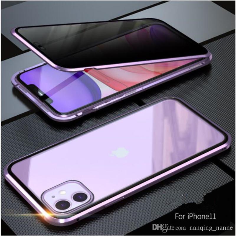 Manyetik Adsorpsiyon Ayaklı Gizlilik telefon Kılıf iPhone 11 Pro XS Max 6 7 8 Artı Xr 360 Temperli Antispy Koruyucu Arka Kapak