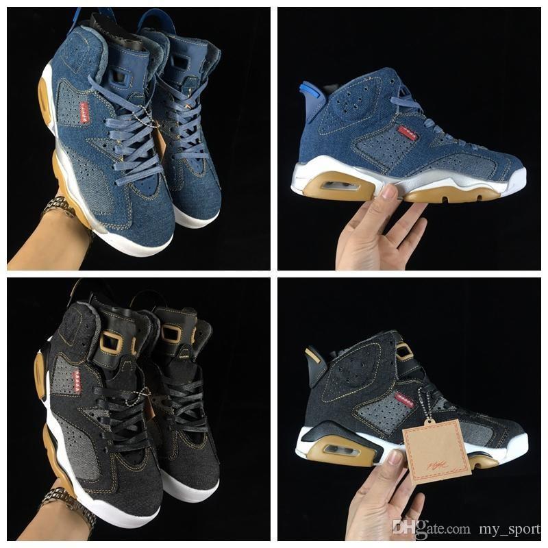 c59537d1c3d 2019 New Release 6 LS Denim Mens Basketball Shoes NRG 6s Black Blue Jean  Jiont Limited Man Trainers Basket Ball Designer Sneakers Men Basketball  Shoes ...