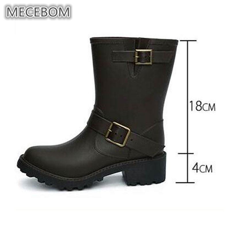 cd3e47110069 Women Waterpoof Punk Rain Boots PVC Low Heels Wedges Platform Mid Calf  Rubber Buckle Strap Ladies Outdoor Shoes Botas Mujer 816W Black Boots Boots  Pharmacy ...