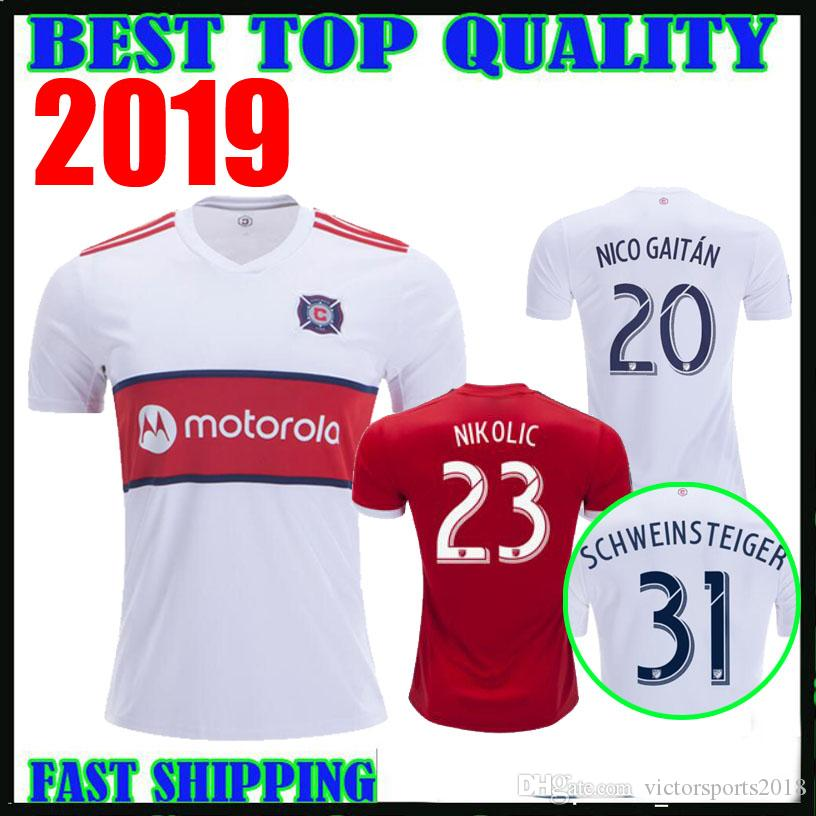 best website f2f84 70b02 2019 CHICAGO soccer jersey FIRE home red away white 19 20 SCHWEINSTEIGER  FRANKOWSKI MIHAILOVIC McCARTY NIKOLIC football shirts top quality