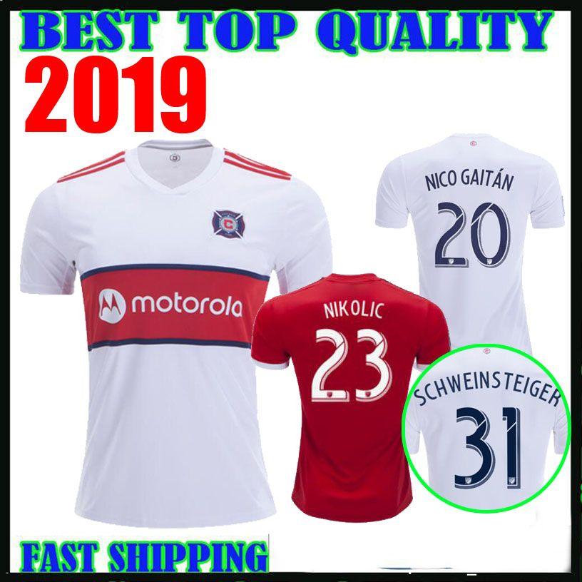 best website 1c514 03ecb 2019 CHICAGO soccer jersey FIRE home red away white 19 20 SCHWEINSTEIGER  FRANKOWSKI MIHAILOVIC McCARTY NIKOLIC football shirts top quality