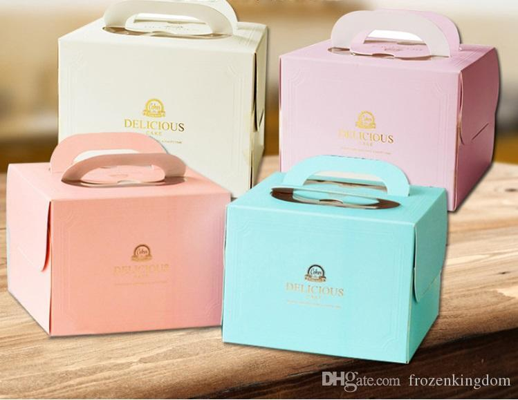 "Free Shipping ""Delicious"" Gold Stamping Portable Cake Box 6 inch 8 inch Pink/ Purple/ White/ Blue wen6580 20180920#"