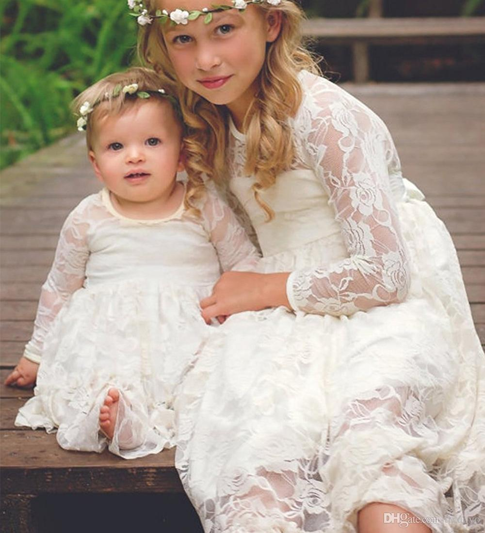 057495d1dfc Fancy Flower Girl Dress Ivory White Lace Boho Rustic First Communion Dress 2  12 Year Old Girlsdresses Grey Flower Girl Dresses From Ttyaovo