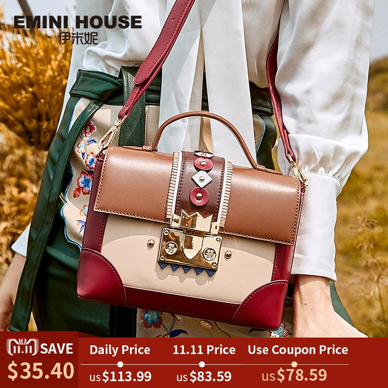 40ee268d44 2019 Fashion EMINI HOUSE Indian Series Padlock Box Bag Luxury Handbags  Women Bags Designer Cowhide Crossbody Bags For Women Shoulder Bag Mens Leather  Bags ...