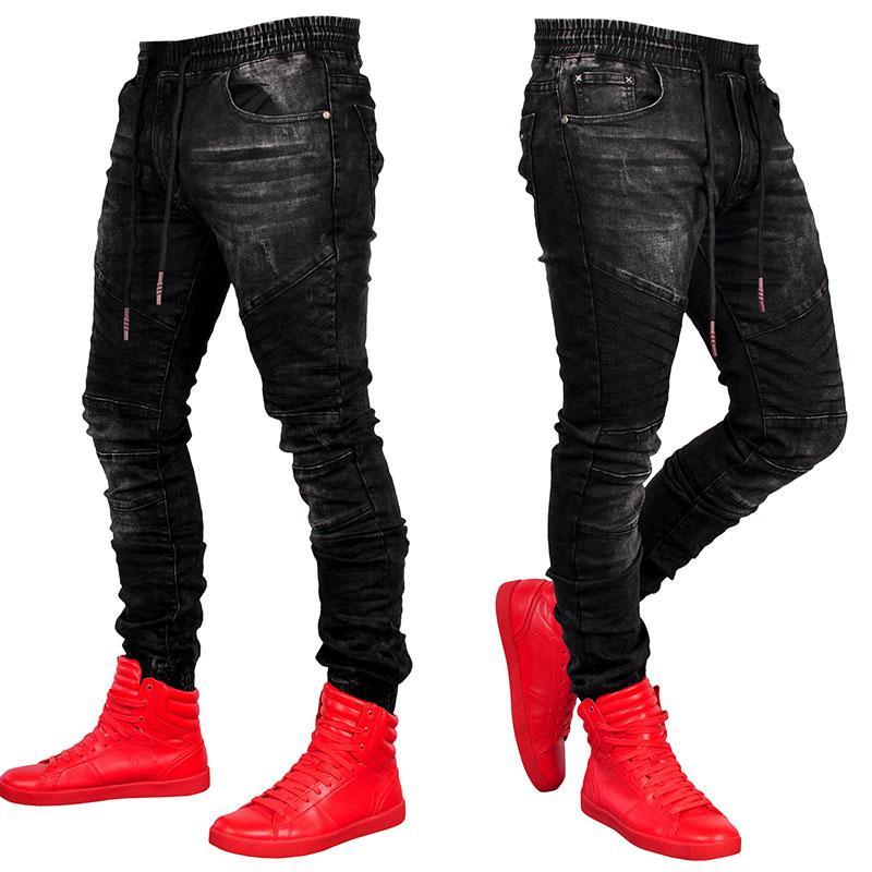 aade16e729 Compre Ropa De Club Nocturno Para Hombre Pantalones Vaqueros De Cintura  Elástica Casual Para Hombres Pantalones De Mezclilla Negros Ajustados Hombre  Slim ...