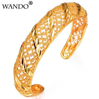 WANDO African Bangles for Women's Gold Color Dubai Jewelry Ethiopian Bangle Arab Bracelets,Bridal Gift/Mom Present b145