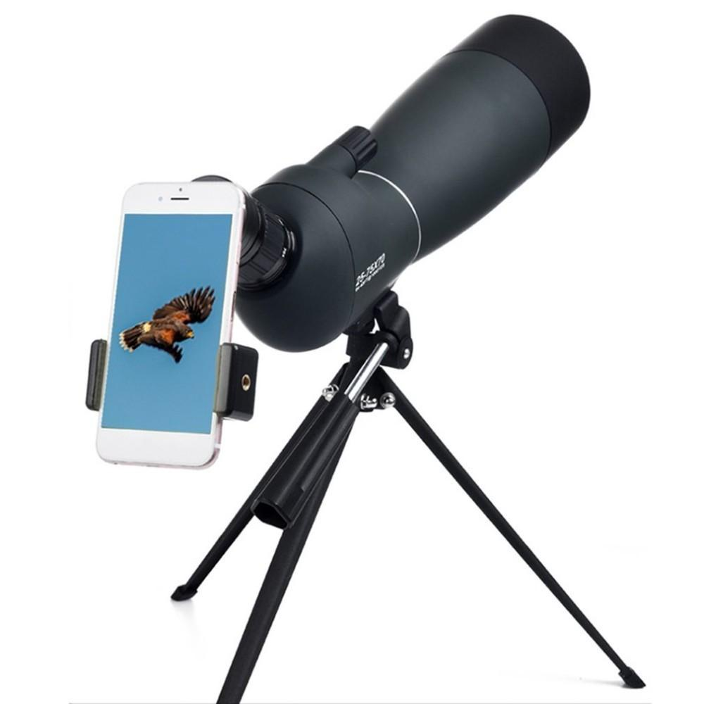 25-75*70 Angled Spotting Scope Zoom Lens Waterproof With Tripod Phone Adapter High Definition Night Vision Watching Telescope