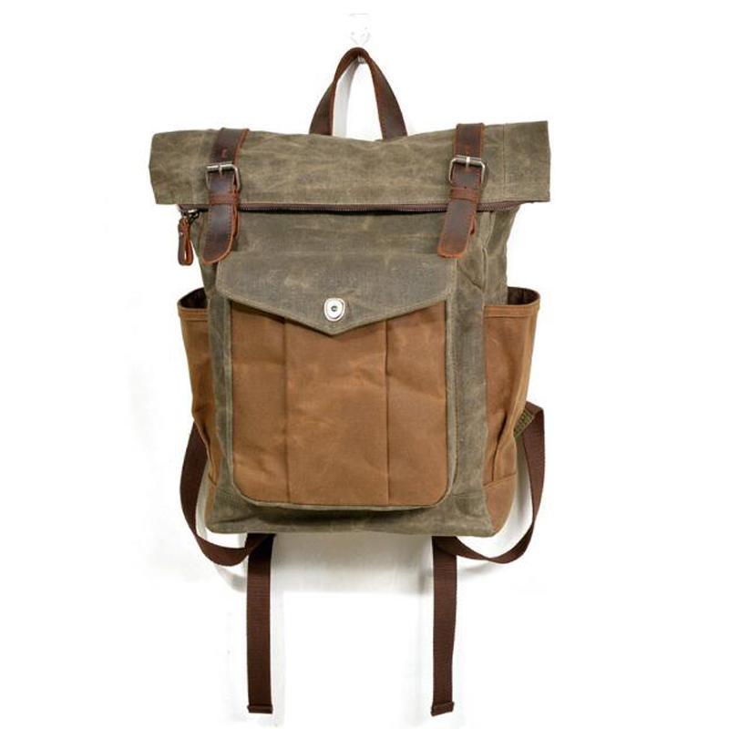 85fca3957dc8 Vintage Canvas Leather Bag Commuter Backpack Waxed Canvas   Leather Laptop  Backpack Work To Weekend Travel Osprey Backpack Tool Backpack From Beigekar
