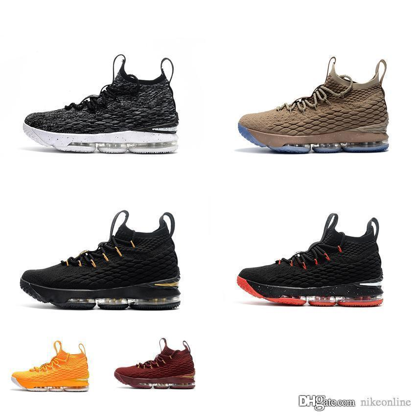 wholesale dealer 0f7c2 ffb95 Cheap Womens Lebron 15 basketball shoes Black White Team Red Grey BHM Gold  Purple Boys Girls youth kids lebrons sneakers tennis with box