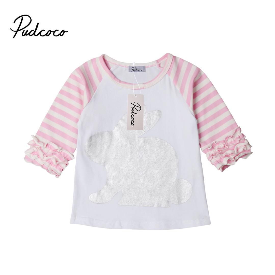 c752dbcb9 Compre 2019 Nueva Marca Para Niños Niñas Bebés Camiseta De Conejo Conejito  Con Volantes Camiseta Top Animal Blusa De Algodón Niños Niña Ropa Outfit A   38.31 ...