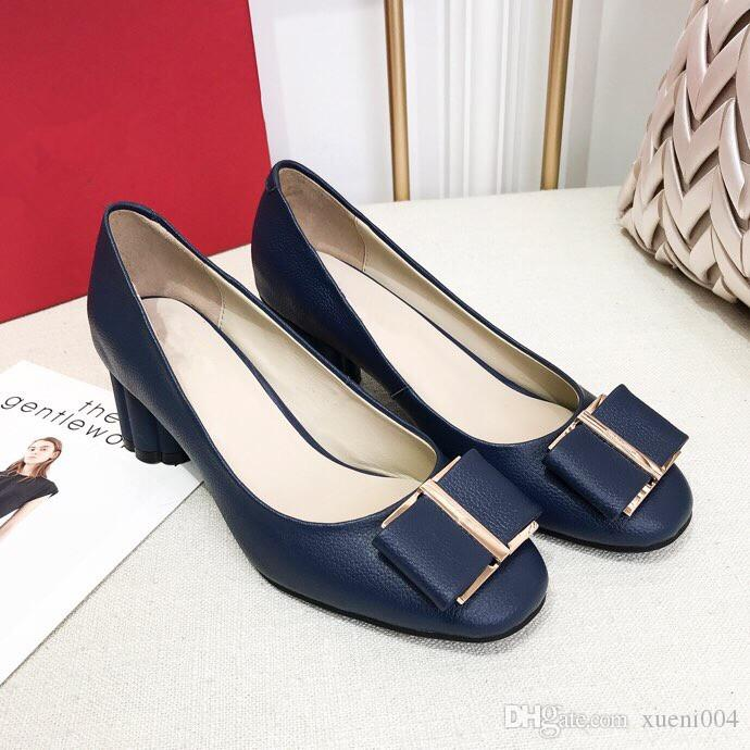 706321f57a0 New 100% Red Bottom Sole High Heels Pumps Square Toe Genuine Leather Shoes  Women Ladies Black Sexy Chaussure 9wl18121305 Navy Shoes Driving Shoes From  ...