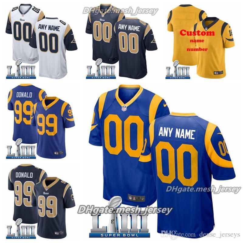 479bdb14864 Custom 2019 Super Los Angeles Bowl Rams Jersey 30 Todd Gurley II 99 Aaron  Donald 16 Jared Goff Men Women Youth American Football Jersey Online with  ...