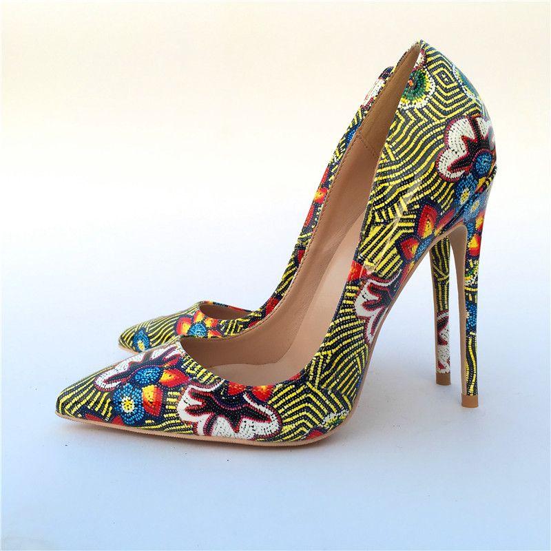 34674ec198 Compre Sexy Toe Point Señoras Flores Imprimir Tacones Mujeres Bombas  Zapatos Mujer Zapatos De Banquete De Boda Mujeres Mujer Sapato A  72.96 Del  Haolinbag ...