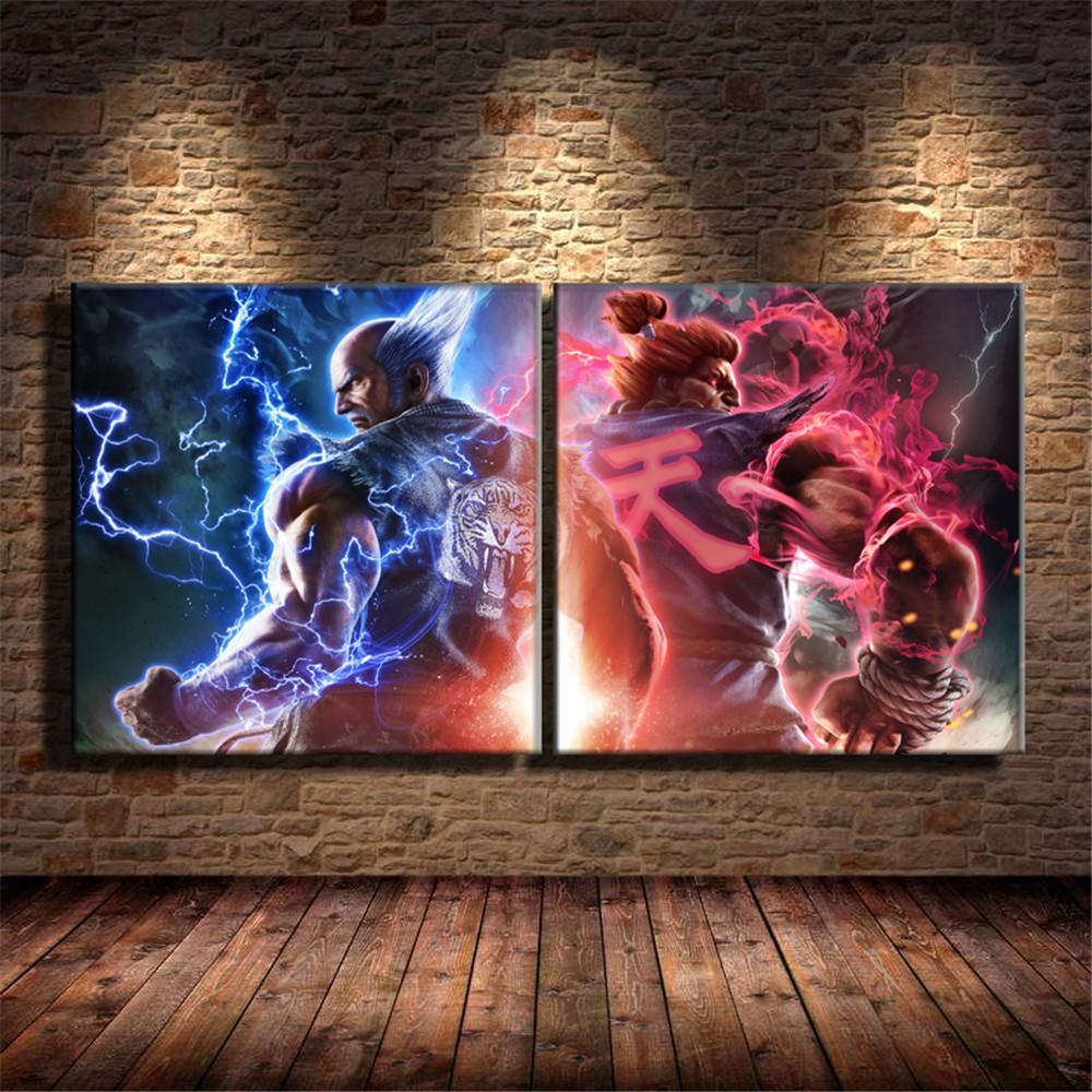 Tekken 7 Heihachi Akuma,2 Pieces Home Decor HD Printed Modern Art Painting  on Canvas (Unframed/Framed)