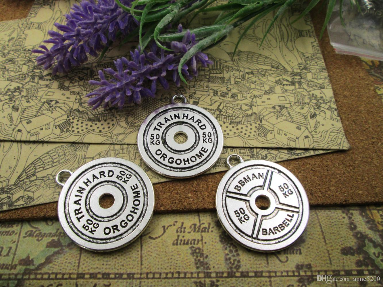 9pcs-- 40*35mm barbell disc weight bbman 50kg Tibetan Silver Plated Pendants Antique Jewelry Making DIY Handmade