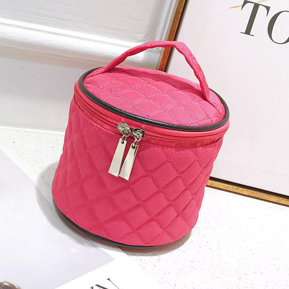 ebec704c45 2019 Barrel Shaped Zipper Cosmetic Bag Make Up Bag Drawstring Elegant Drum  Wash Kit Bags Makeup Organizer Storage From Huayama