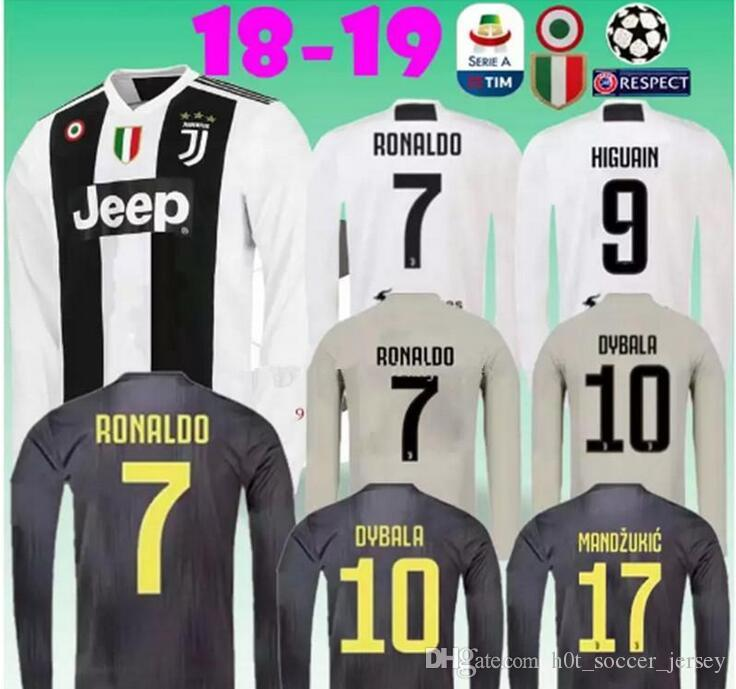 028684dce Long Sleeve 2018 2019 Juventus Soccer Jersey 18 19 RONALDO DYBALA MARCHISIO  MANDZUKIC PJANIC HIGUAIN Home Away 3RD Football Shirt UK 2019 From ...