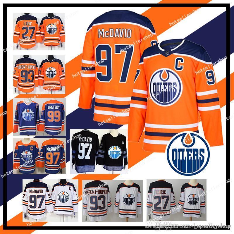 pretty nice 41b5a e9192 nhl Edmonton Oilers hockey jerseys 97 Connor McDavid 93 Ryan Nugent-Hopkins  33 Cam Talbot 99 Wayne Gretzky retro