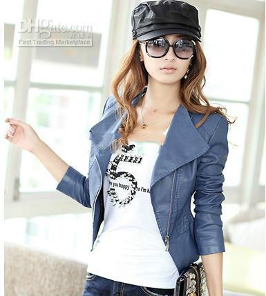Compre Chaquetas Cortas Elegantes De La Motocicleta De Las Mujeres Del  Color Azul   De Color Caqui   Negro Elegantes De Corea Con Zipper es A   50.98 Del ... dd5f5cec2d9a