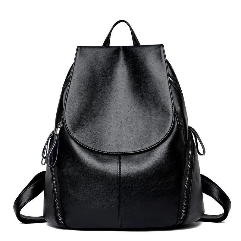 22462e009e4f 2019 New Fashion Women Leather Backpack High Quality Woman Backpacks Female  Travel Shoulder Bag College Wind School Bag