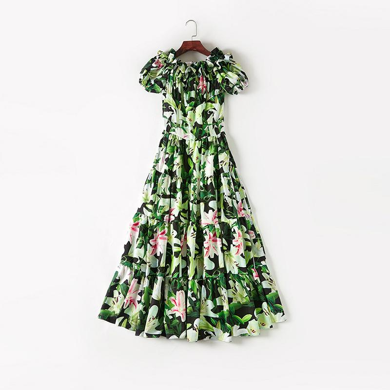 2019 Spring Summer Off Shoulder Slash Neck Floral Print Patchwork Silk Mid-Calf Length Dress Luxury Runway Dresses MAY1719M5
