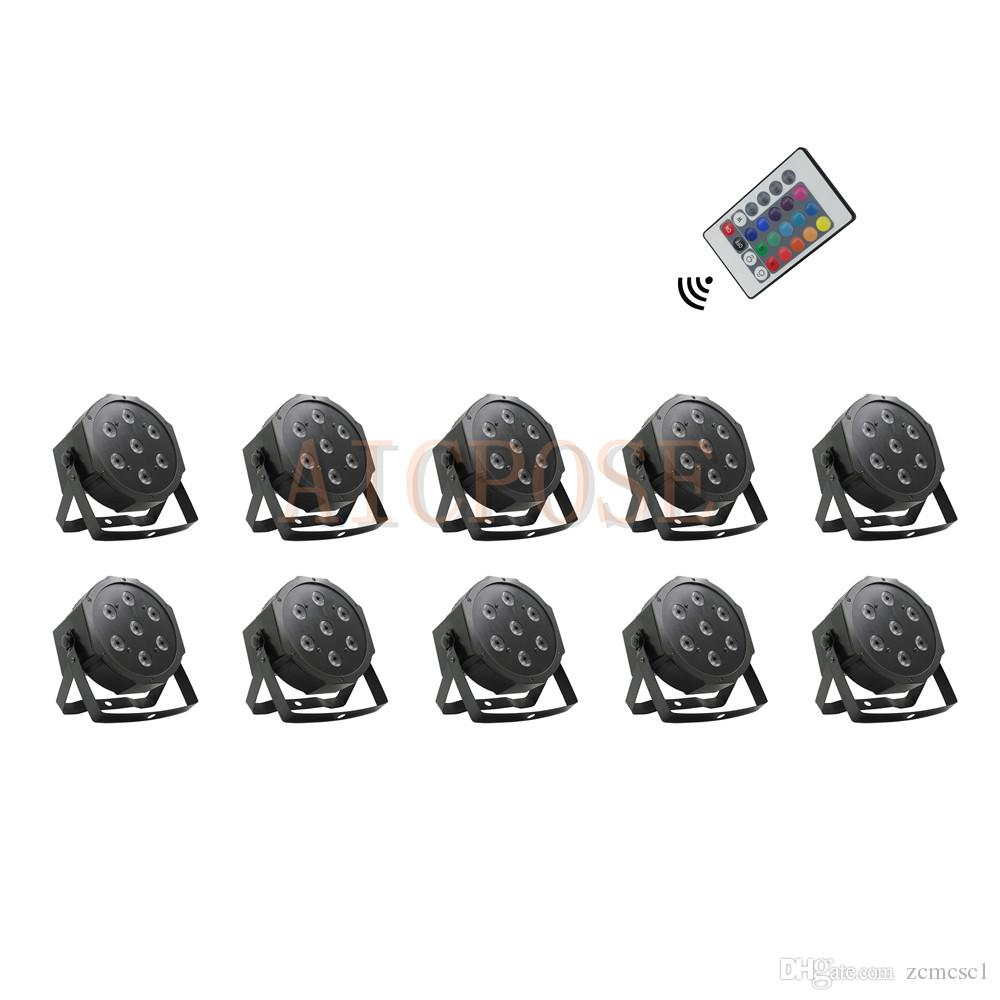10Pcs/lots Remote Par lights 7x12w Small Lens RGBW 4 in 1 7*12w With Remote Control Fat Par Led Disco DJ Bar Stage Light