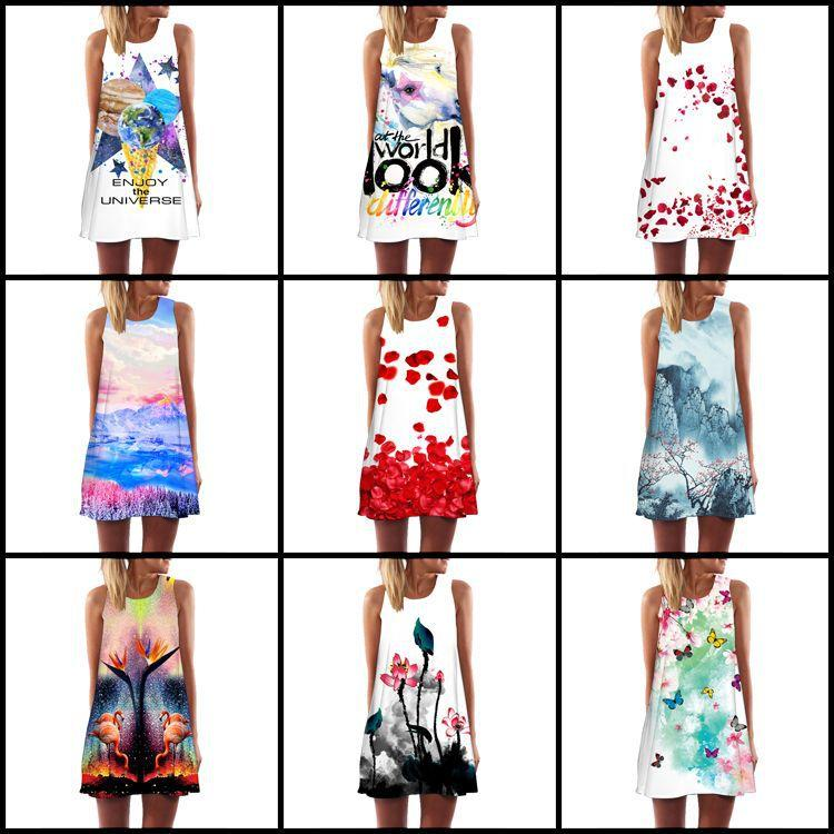 fbbb3effac4c2 Women Mini A-Line Dress 2019 Summer Short 3d Dress Floral Print Casual  Woman Chiffon Dresses Boho Beach Vestidos Black