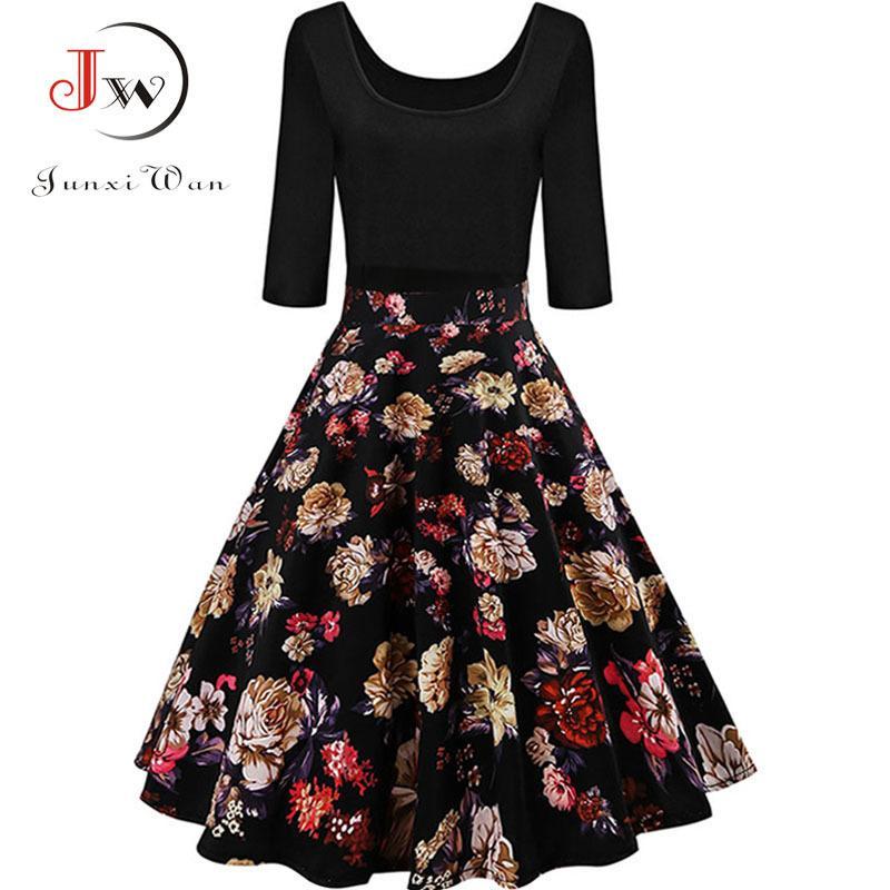 3a295719e53 Acheter Automne Hiver Robe Femmes Mode Hepburn Années 50 Années 60 Floral  Print Vintage Dress Manches 3 4 Élégant Robes De Soirée Plus La Taille  Jurken ...
