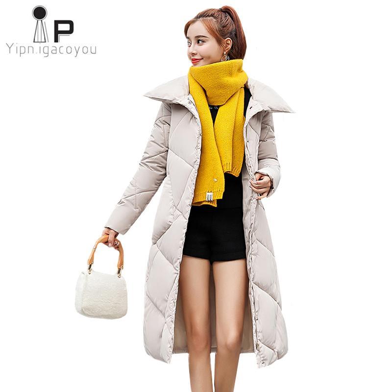 Acquista Moda Donna Piumino Nero Lungo Cappotto Invernale Donna 2018 Nuovo  Coreano Plus Size Spessore Caldo Giacca Donna Allentata Parka Cappotti 3XL  A ... 23e6b6dea89