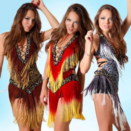Ballroom Dance Dress Samba Costume for Women Sexy Leopard Print Salsa Dresses with Tassels Latin Dress