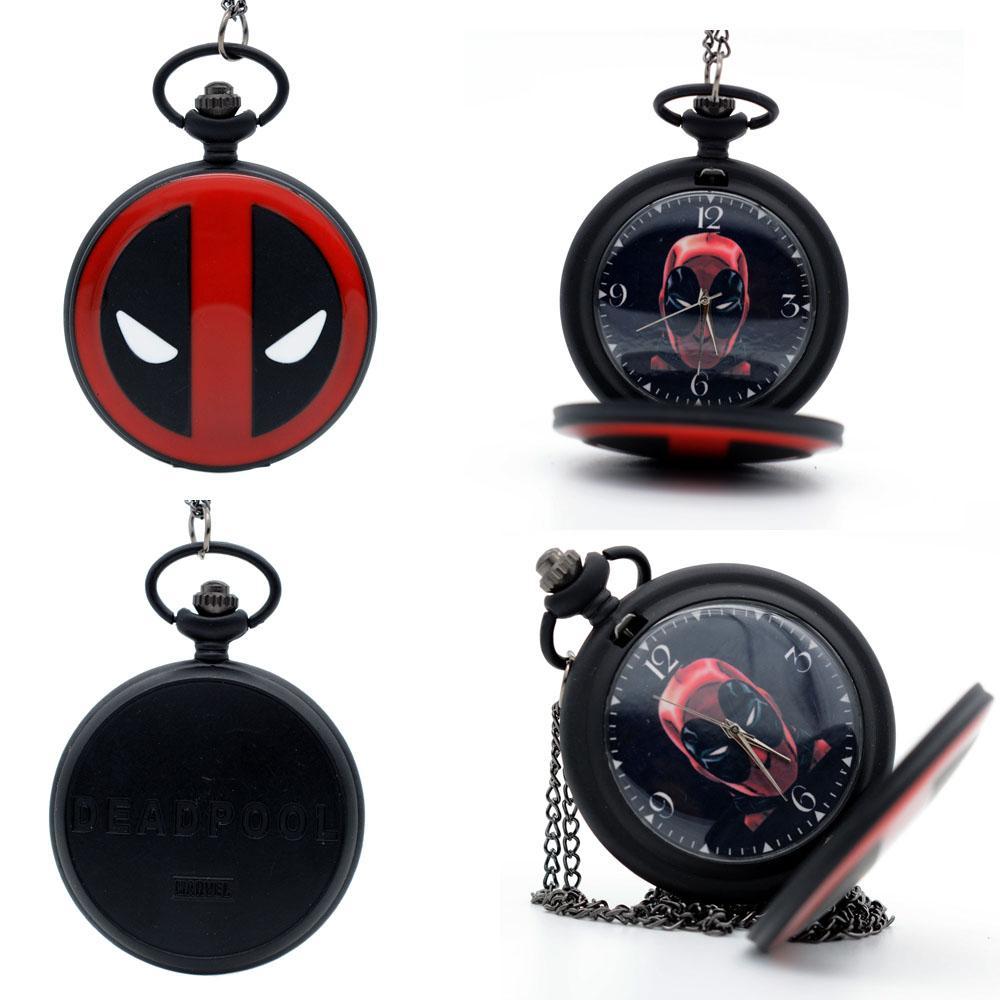 Fashion Black Deadpool Animation Deadpool mask Dial Quartz Pocket Watch Pendant Necklace Mens Womens Deadpool Watches Gift