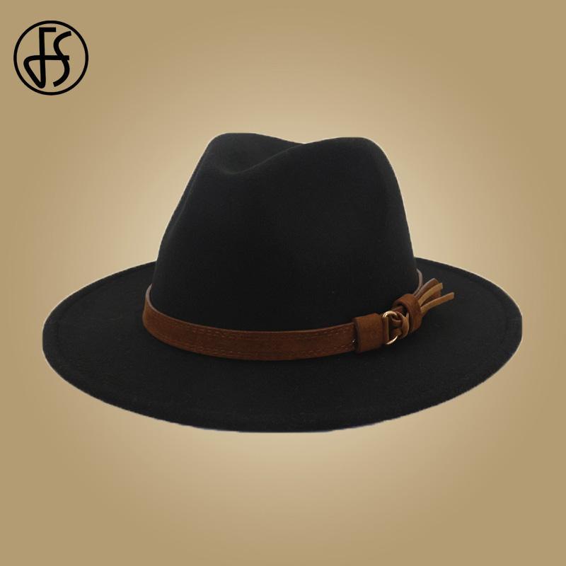 Compre Sombreros Para Hombre De FS Sombreros De Lana Con Cinta De Cuero  Caballero Elegante Señoras Invierno Otoño De Ala Ancha Jazz Panamá Bowler  Hat Cap A ... 7e25a1cef6d