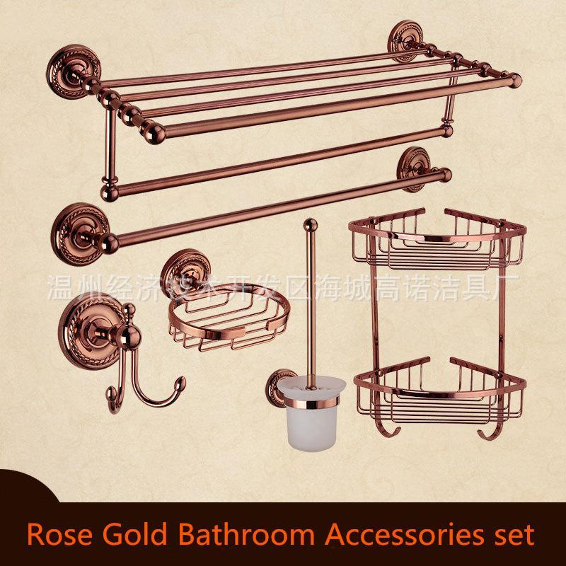 Badezimmerarmaturen Heimwerker Europa Antike Gold Badezimmer Zubehör Set Solide Messing Hardware Runde Basis Poliert Badezimmer Sets